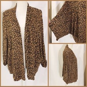 Leopard Print Kimono Sleeve Lightweight Cardigan